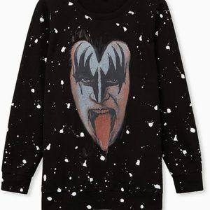 Kiss Black Splatter Fleece Sweatshirt 3X